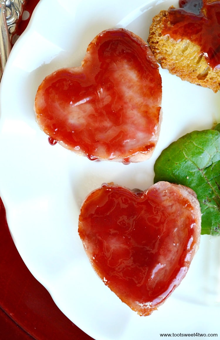 Heart-shaped ham slices for Sweetheart Ham and Egg Breakfast