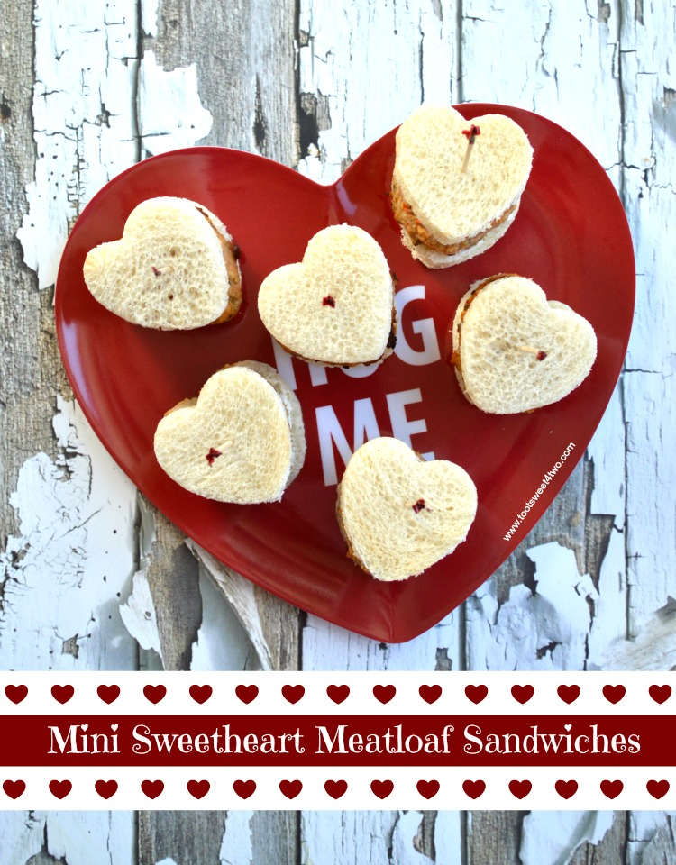 Mini Sweetheart Meatloaf Sandwiches on a heart-shaped plate