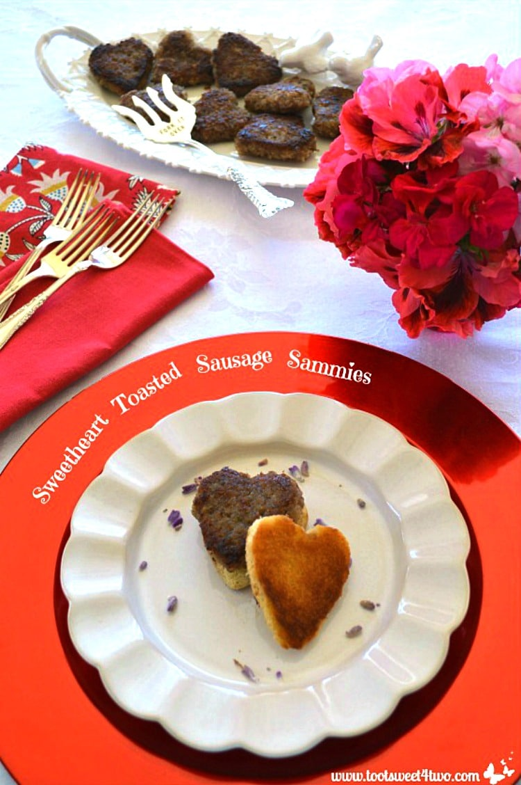 One little Sweetheart Toasted Sausage Sammies with Sweetheart Maple and Sage Sausage Patties