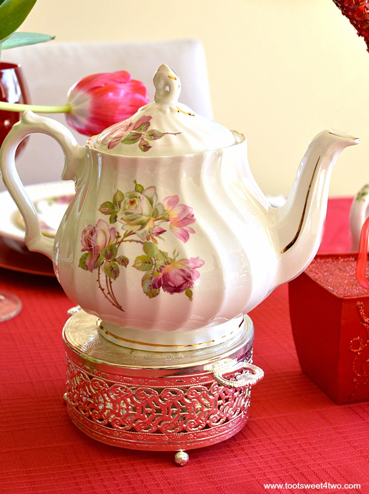 Pink and White Rose Teapot - A Valentine's Day Tea Party Tablescape