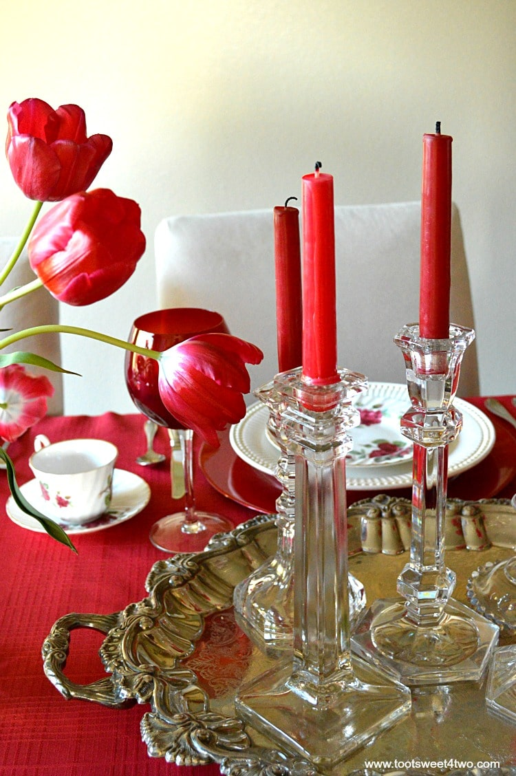 Red Candles on Silver Plater Centerpiece - A Valentine's Day Tea Party Tablescape