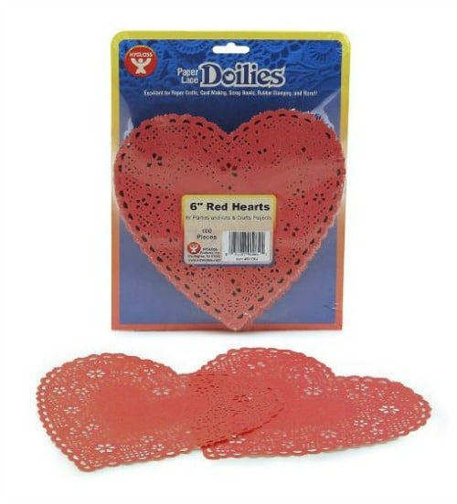 Red Paper Heart-shaped Doilies on Amazon