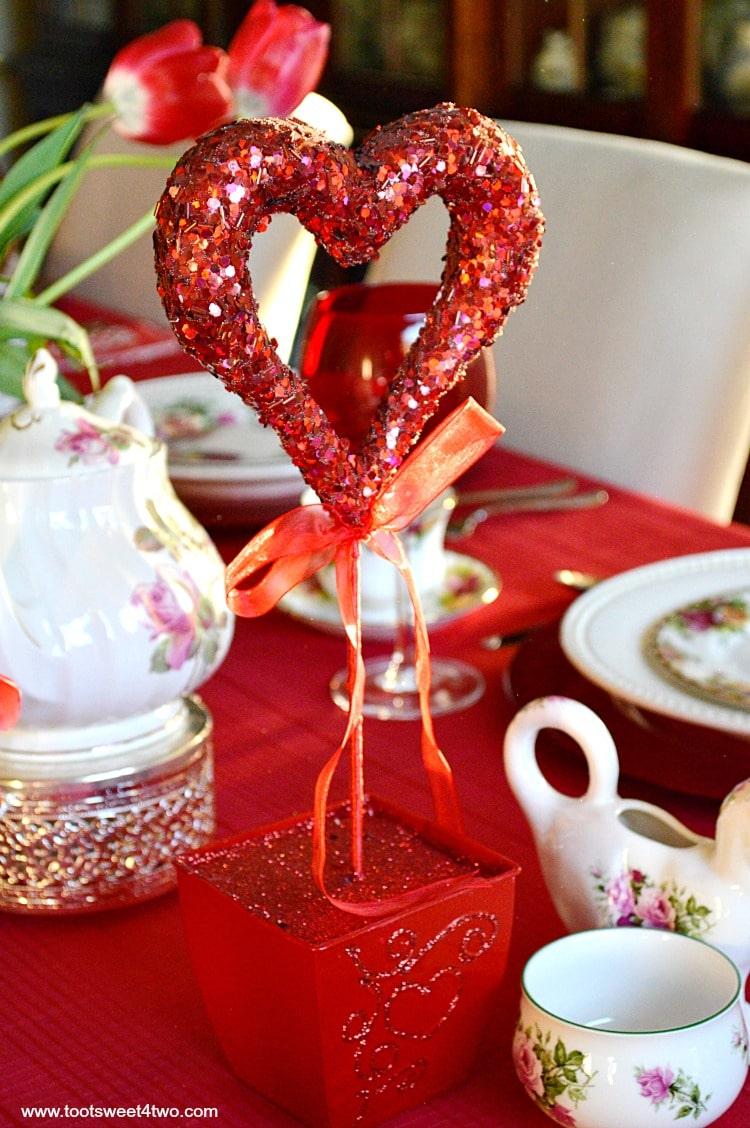 Red Sequined Heart Topiary - A Valentine's Day Tea Party Tablescape