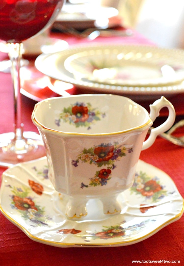 Square Tea Cup - A Valentine's Day Tea Party Tablescape