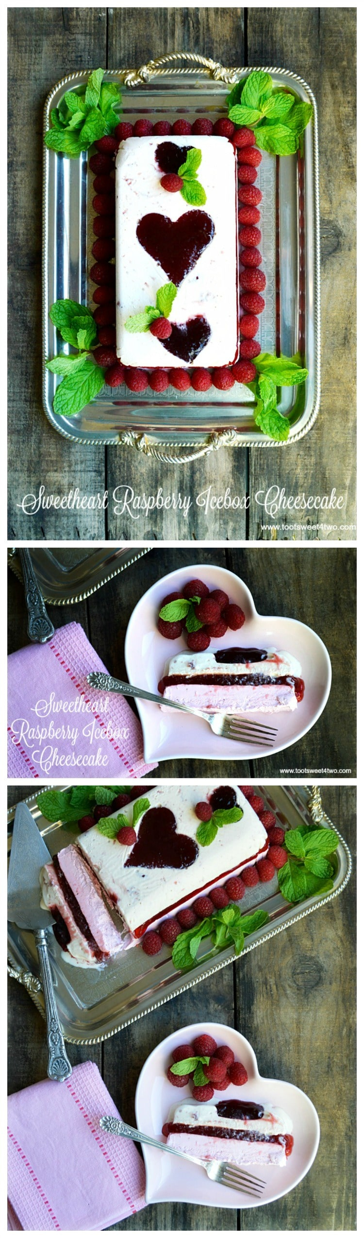 "Looking for unique cheesecake recipes? Look no further! Sweetheart Raspberry Icebox Cheesecake is an easy, frozen, no bake dessert that combines an easy-to-make cheesecake layer with a layer of raspberry flavored ice cream and molded raspberry jam hearts. Frozen for hours or overnight, unmold this luscious concoction onto a pretty platter and then top with fresh raspberries and sprigs of mint. A spectacular-looking dessert, this delicious recipe with ""wow"" friends and family. 