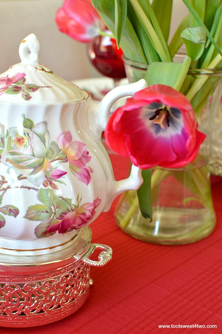 Teapot and Tulips - A Valentine's Day Tea Party Tablescape
