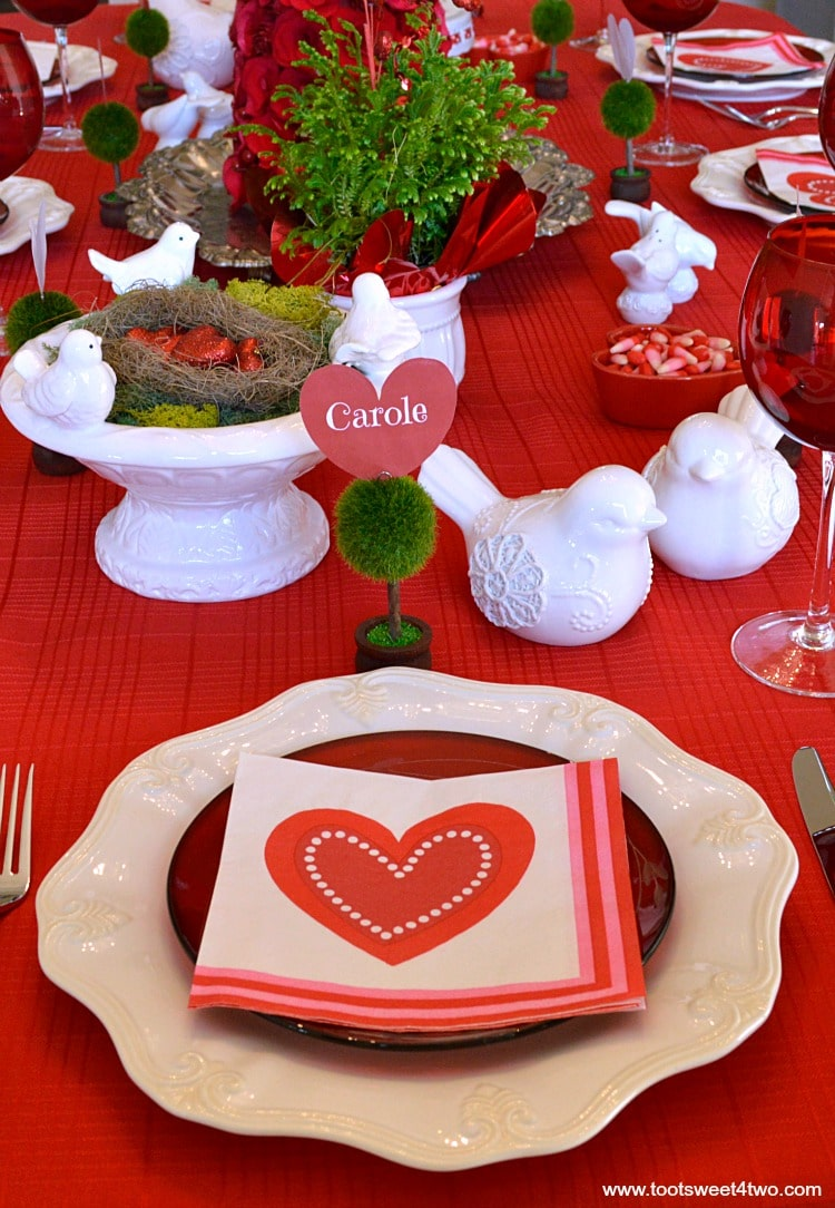 Valentine's Day tablescape close-up