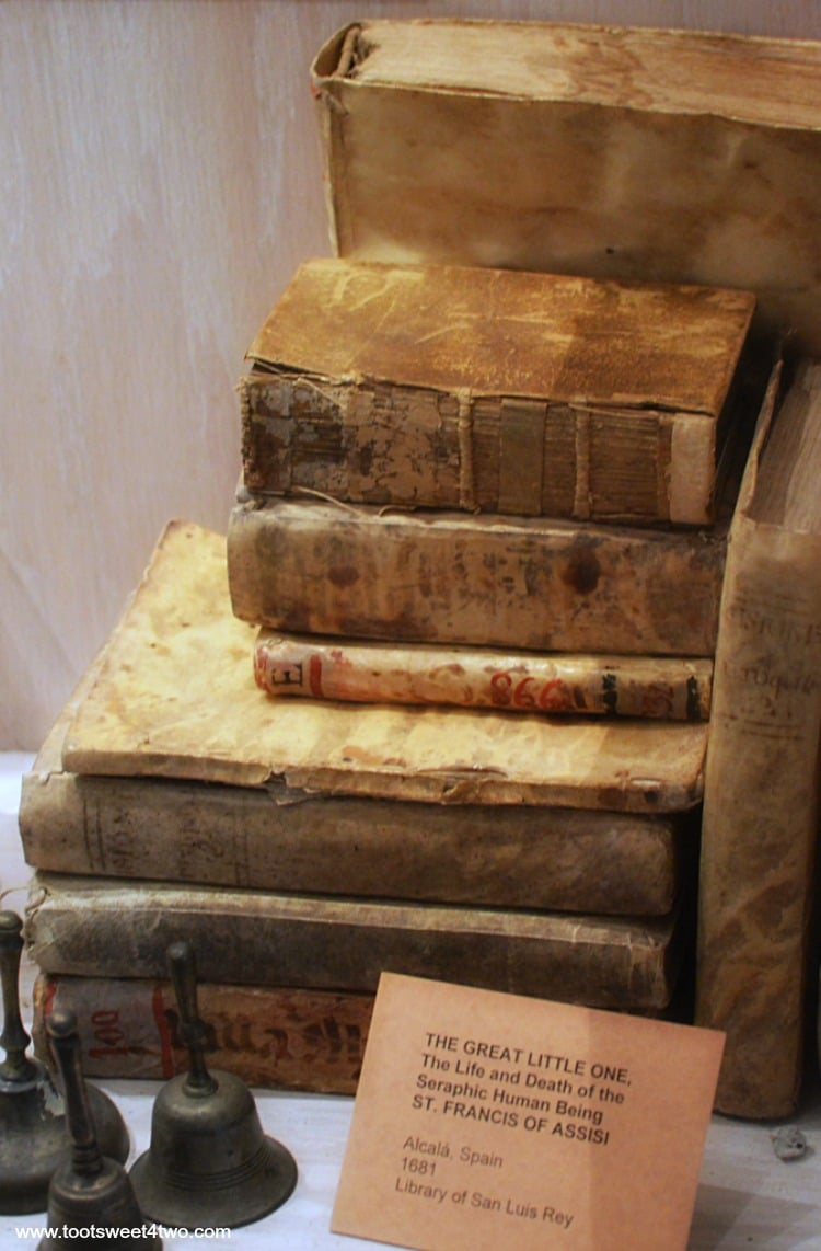 Books and bells on display at Mission San Luis Rey de Francia Museum