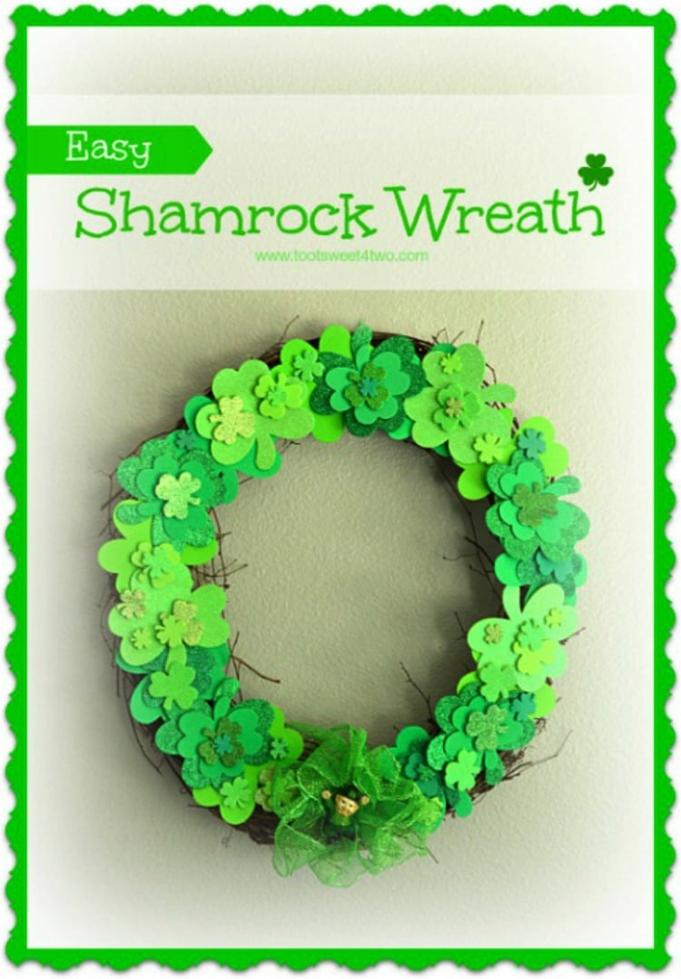 Easy Shamrock Wreath 750x1078