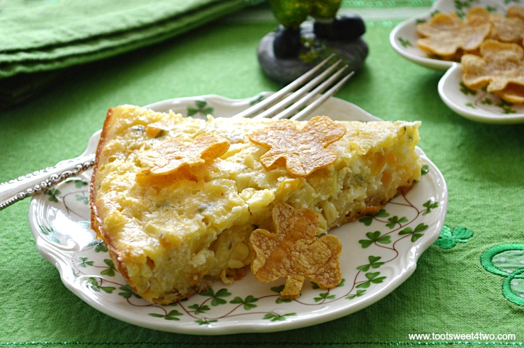 Pot O'Gold Skillet Cornbread slice with Shamrock Corn Chips