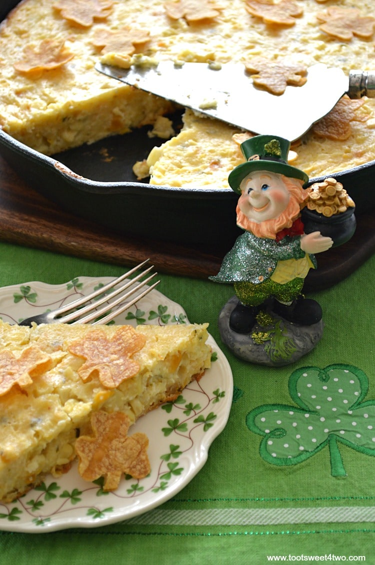 Pot O'Gold Skillet Cornbread and an adorable Leprechaun