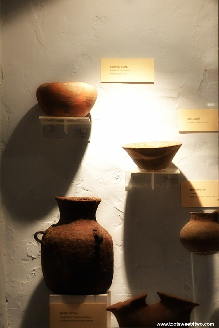 Pottery on display at Mission San Luis Rey Museum