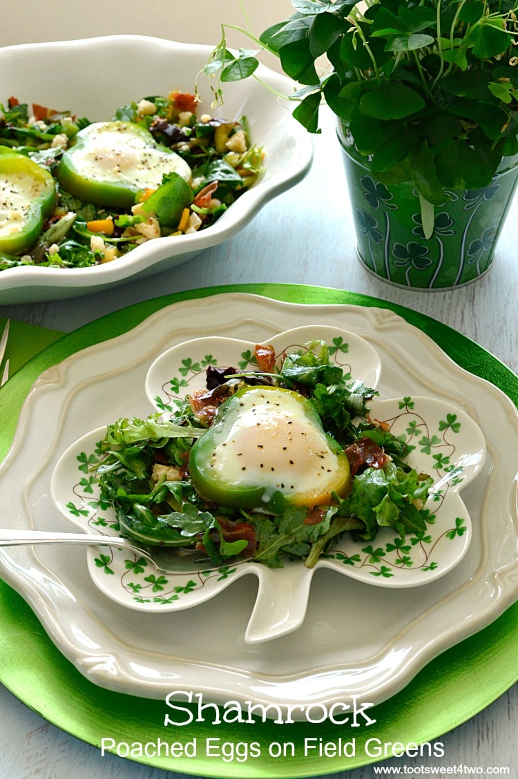 Shamrock Poached Eggs on Field Greens - Pic 1