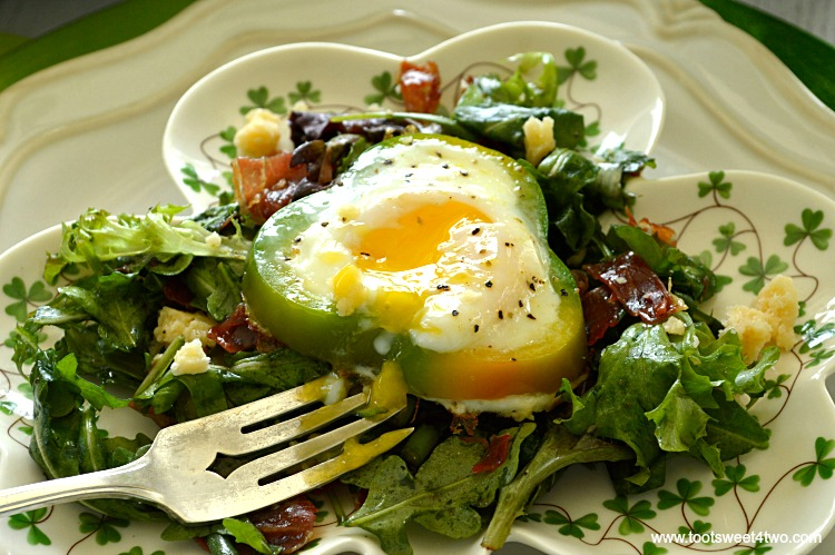 Shamrock Poached Eggs on Field Greens - Pic 7