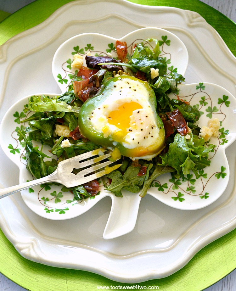Shamrock Poached Eggs on Field Greens - Pic 8
