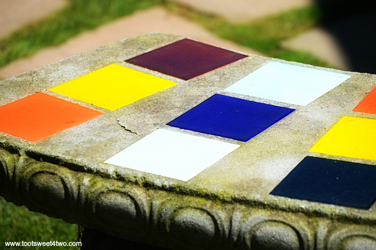 Colorful concrete and tile bench at Old Mission San Luis Rey Gardens