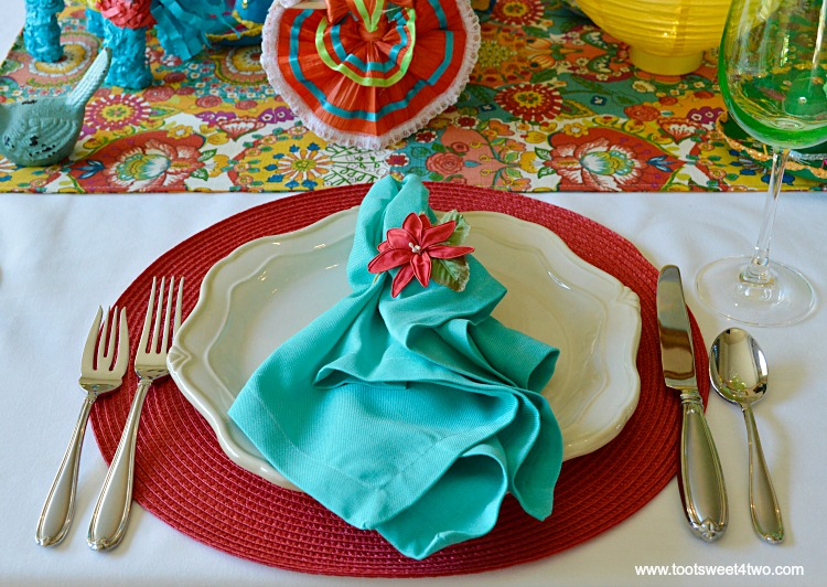 Aqua Napkin and Red Placemat for Decorating the Table for a Cinco de Mayo Celebration
