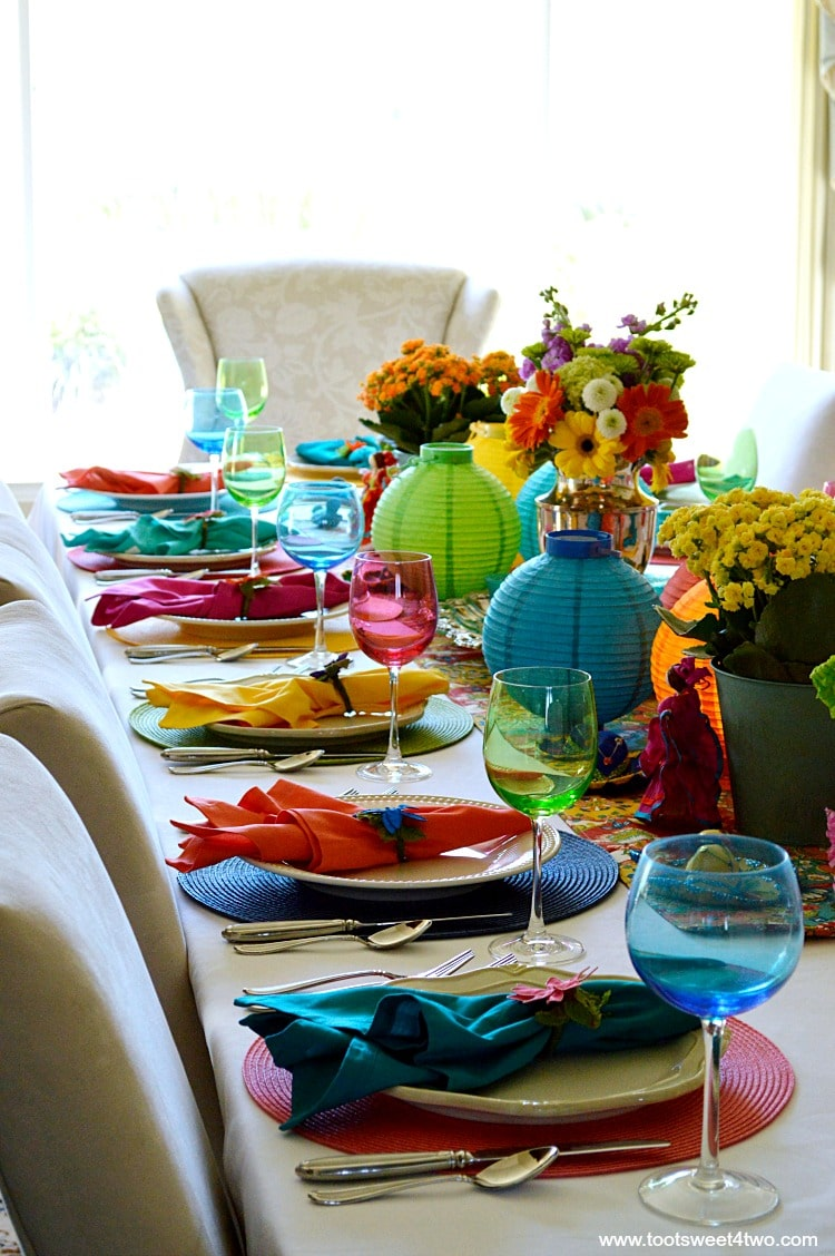 Left side tablescape for Decorating the Table for a Cinco de Mayo Celebration