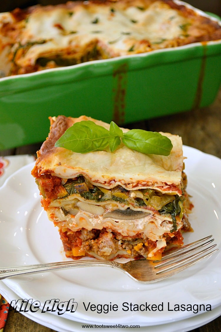 Mile High Veggie Stacked Lasagna is layer upon layer of deliciousness! Each individual vegetable is layered separately, as are layers of no boil lasagna noodles, meat, sauce and cheese, making this deep dish lasagna special! Each mouthful delivers the perfect Italian flavor as well as the distinct tastes of each ingredient. By layering the vegetables separately, they shine through and are not masked by the delectable meat sauce. Is this the world's best lasagna recipe? You decide! But it is sure to become a family favorite, so keep this lasagna recipe handy!