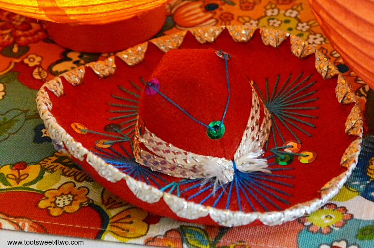 Miniature Red Mariachi Sombrero for Decorating the Table for a Cinco de Mayo Celebration