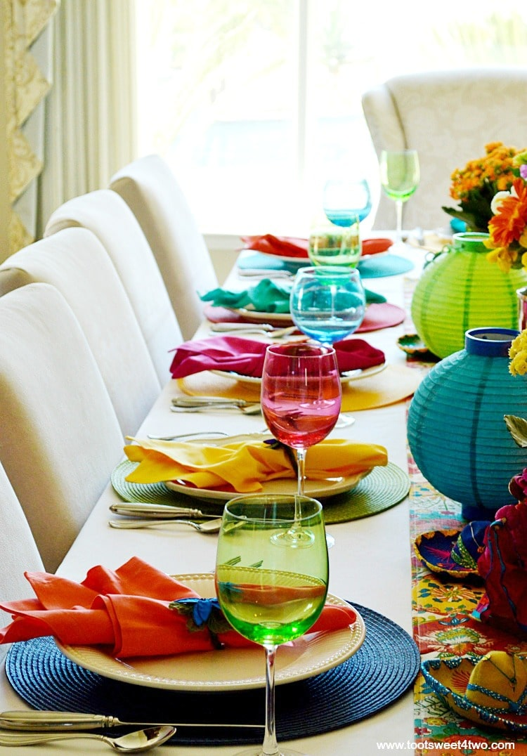 Various Place settings for Decorating the Table for a Cinco de Mayo Celebration