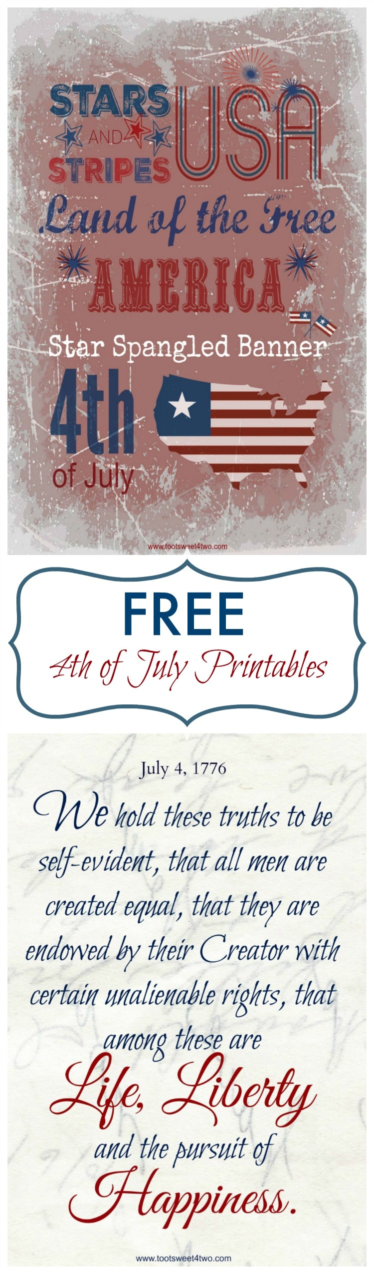 In honor of Independence Day, check out these four FREE Patriotic 4th of July printables, suitable for framing! Perfect for sharing on social media too, this post includes a brief tutorial on how to create each printable yourself. But, if you aren't the DIY type, just click on the link included to print your own! | www.tootsweet4two.com