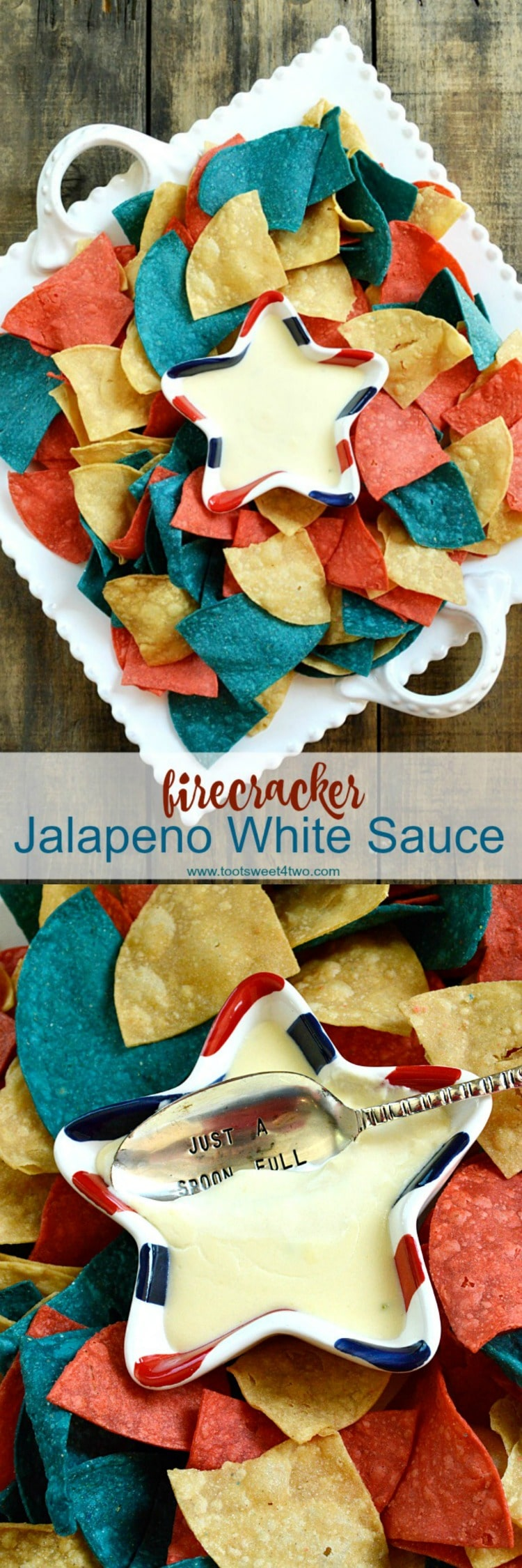 Creamy and delicious, with just a hint of heat from jarred jalapenos, Firecracker Jalapeno White Sauce is a homemade recipe that replicates the dipping sauce served with chips in Mexican restaurants. | www.tootsweet4two.com