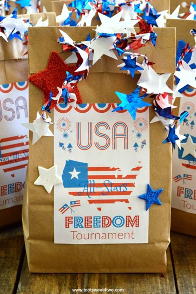 Patriotic DIY Brown Paper Bag Treat Bags plus FREE Printable