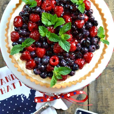 Patriotic Summer Berry Double-Cream Tart
