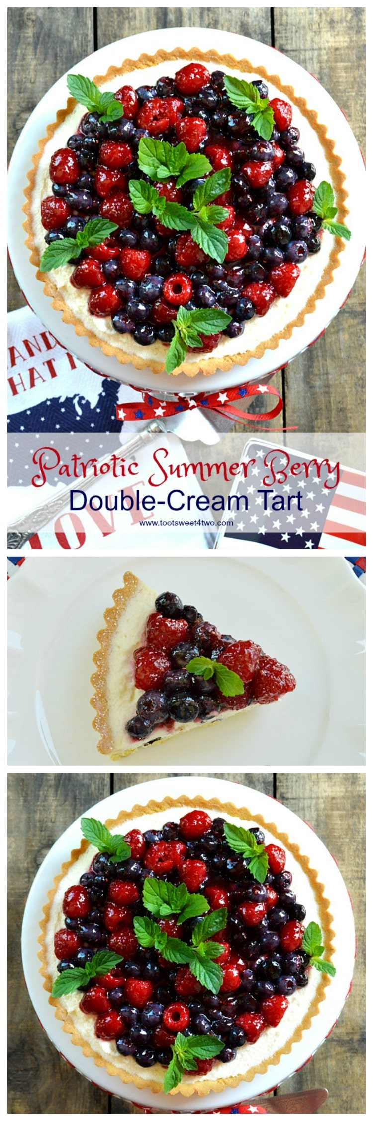 An easy, no-bake dessert, Patriotic Summer Berry Double-Cream Tart is a winning recipe to celebrate 4th of July or any other red, white and blue holiday. A flaky, store-bought sweet pastry tart shell covered with a sweet double-cream filling and topped with fresh fruit, makes a beautiful and delicious treat for Independence Day! | www.tootsweet4two.com