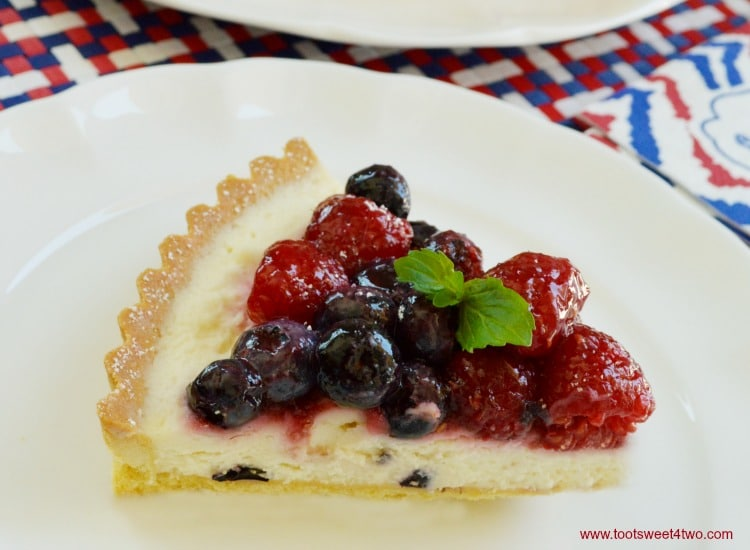Patriotic Summer Berry Double-Cream Tart slice close-up