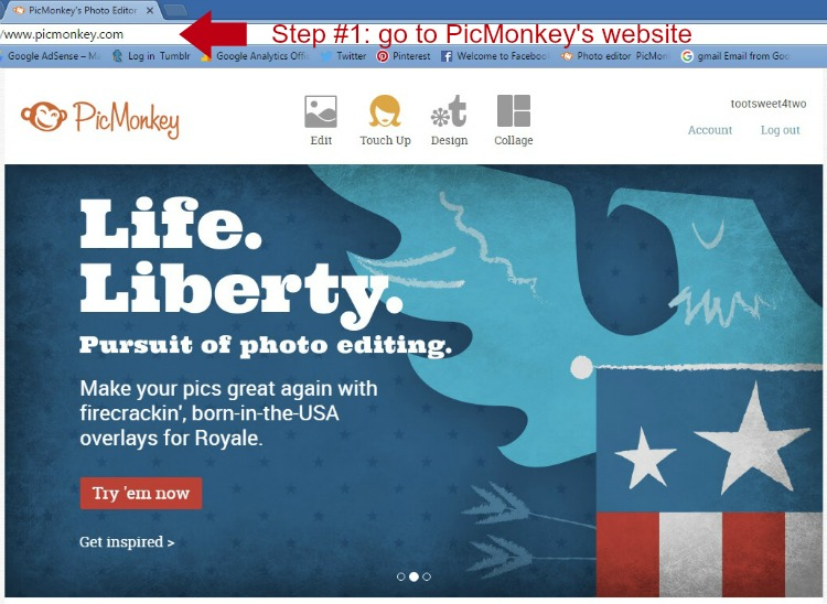 Step 1 - go to PicMonkey's website