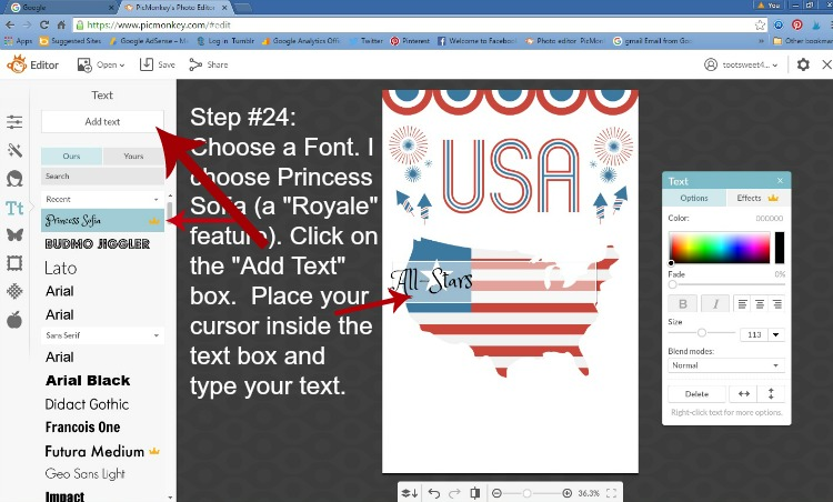 Step 24 - Choose Font