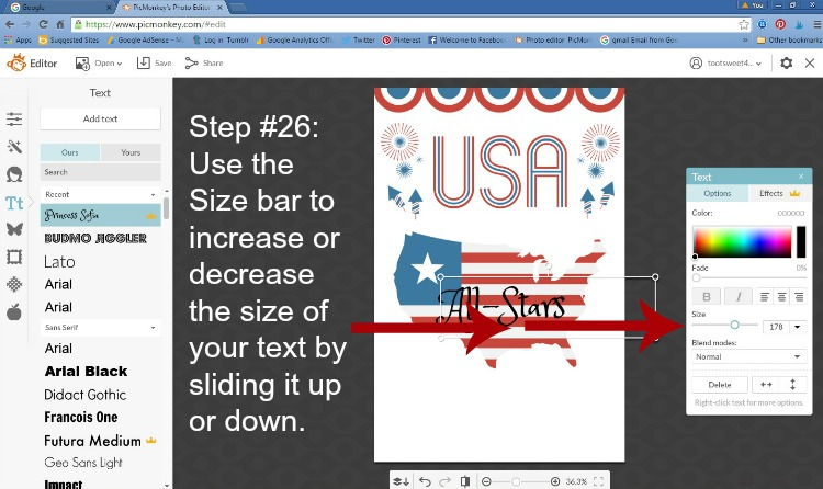 Step 26 - Increase Text Size