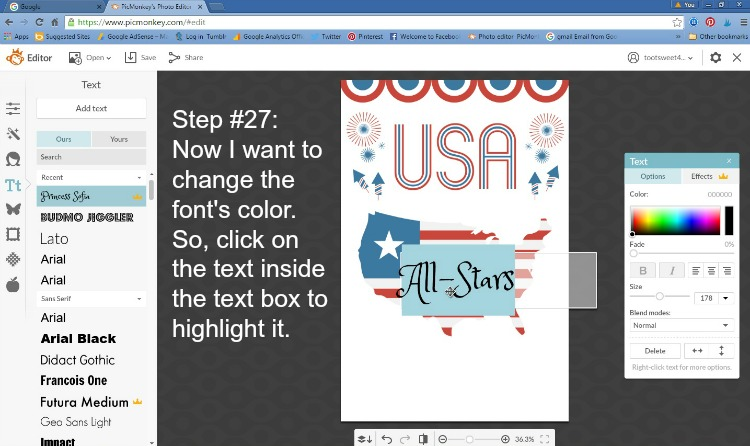 Step 27 - Click to Highlight Font