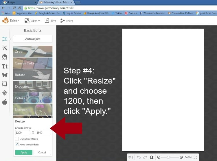Step 4 - Click Resize and Choose 1200