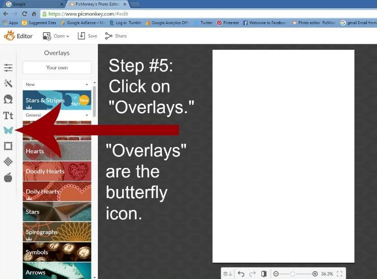 Step 5 - Click on Overlays
