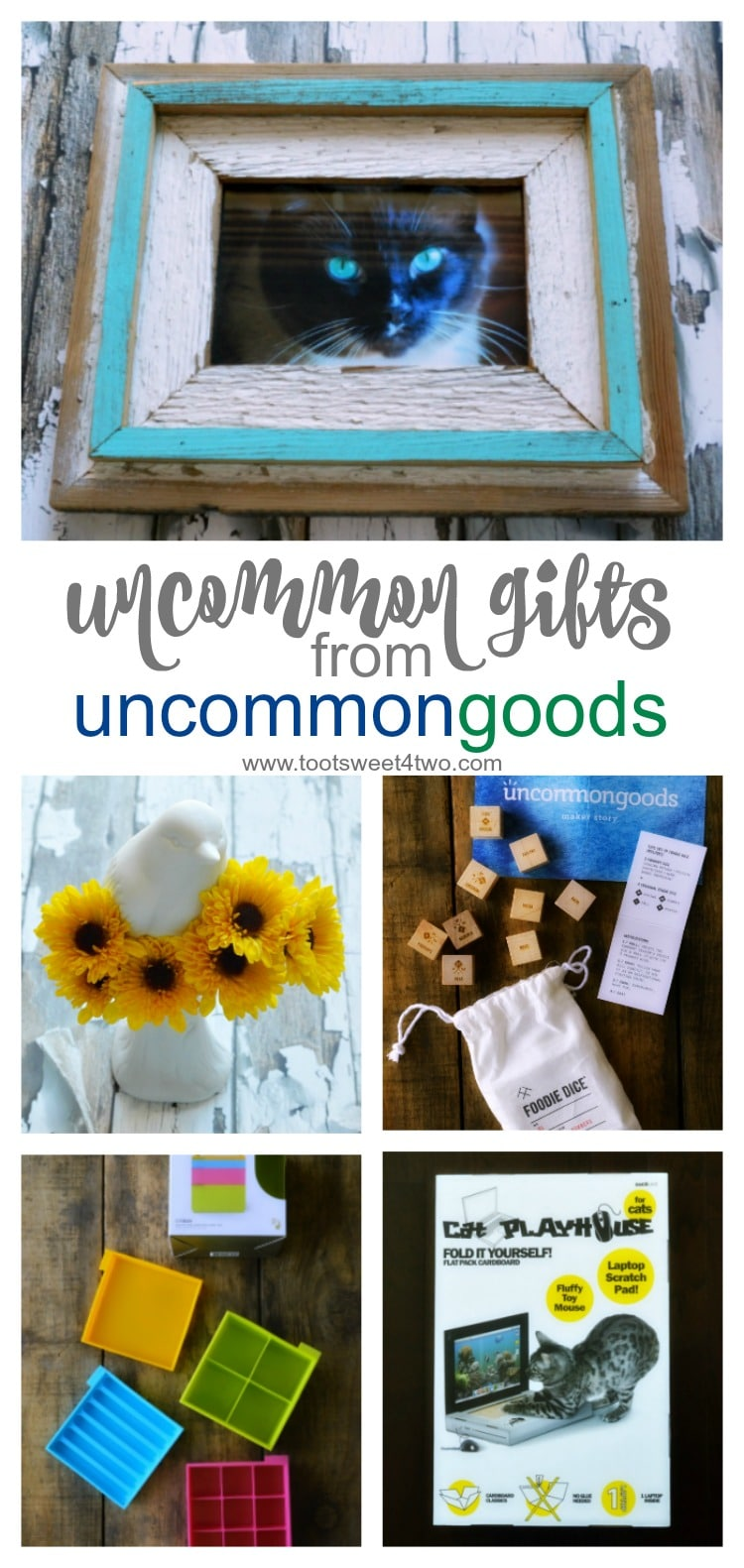What defines gifts as uncommon goods? Words that come to mind are unique, creative, extraordinary, surprising, exceptional, singular. How do you find the perfect birthday present for the person who has everything? If you are looking for unique gifts, unusual gifts or uncommon gifts for a variety of reasons, UncommonGoods is a resource not to miss. Looking for gifts for foodies? Check. Looking for Christmas present ideas for him? Check. Looking for unique corporate holiday gifts or client gifts? Check. Looking for creative gift ideas that make a statement? Check. UncommonGoods is the perfect resource for great gifts ideas solving the age old gift giving dilemma of what gift to get for any and every special occasion. | www.tootsweet4two.com
