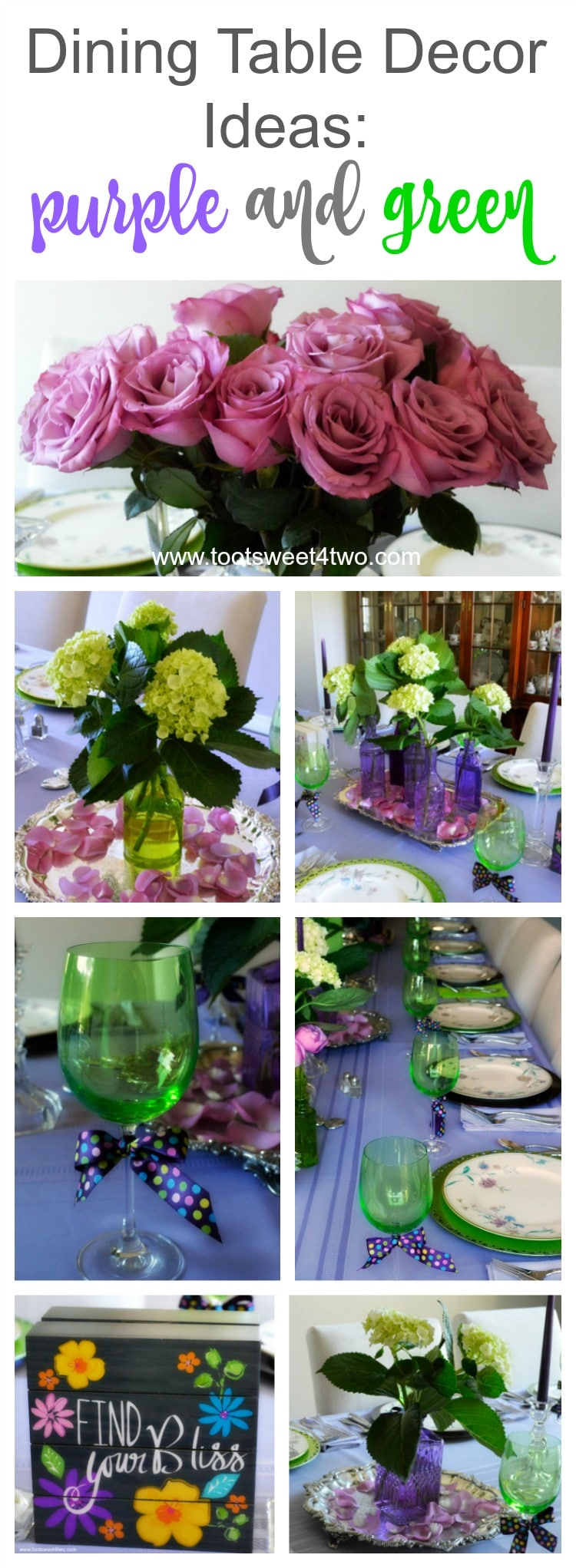 Dining table decor ideas purple and green toot sweet 4 two for Dining table accessories ideas