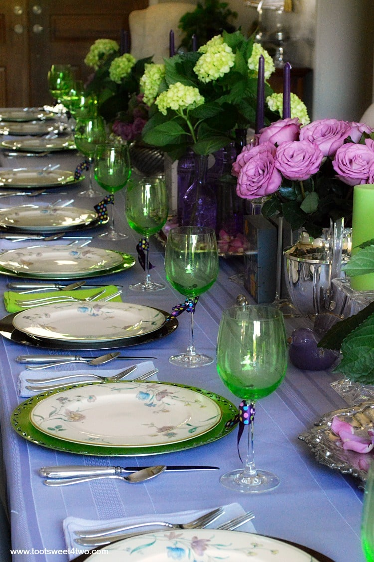 Dining table decor ideas purple and green toot sweet 4 two for Breakfast table decor