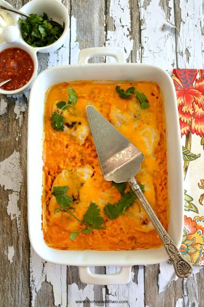 Cheesy Fiesta Salsa Chicken and Rice Bake