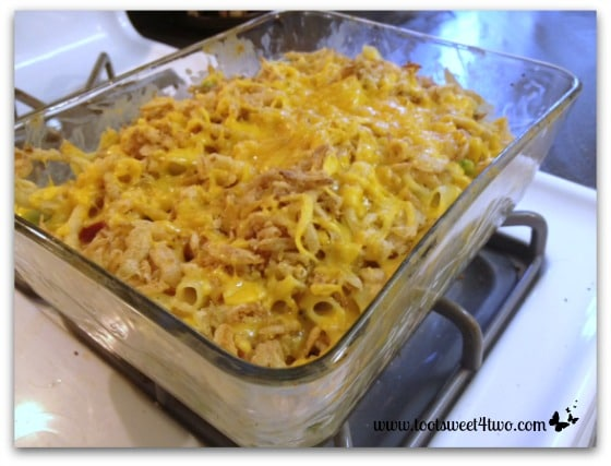 Easy Chicken Noodle Bake out of the oven