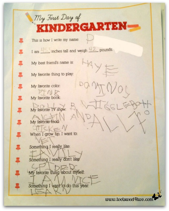 First Day of Kindergarten questionnaire