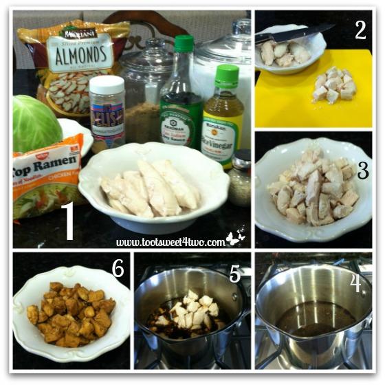 Preparing chicken for Oriental Chicken Salad