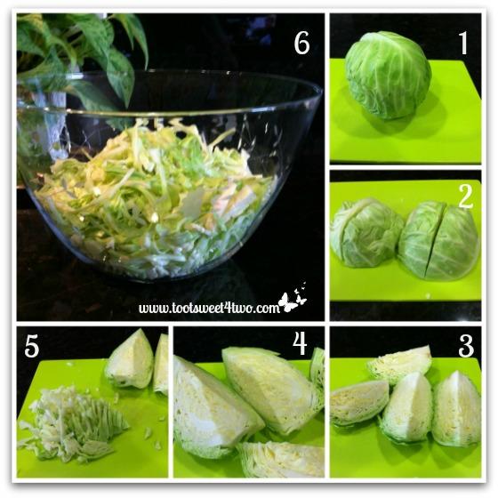 Preparing the cabbage for Oriental Chicken Salad