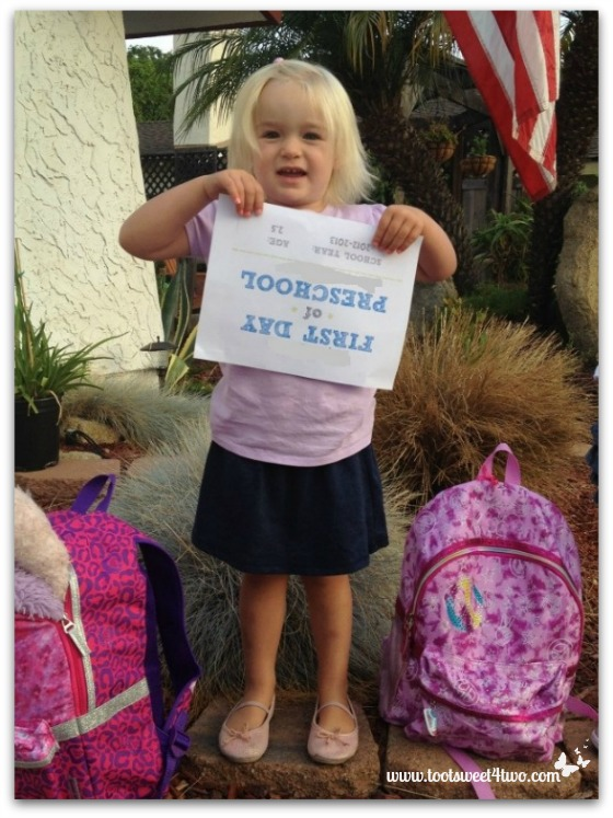 Princess Sweetie Pie off to her first day of preschool