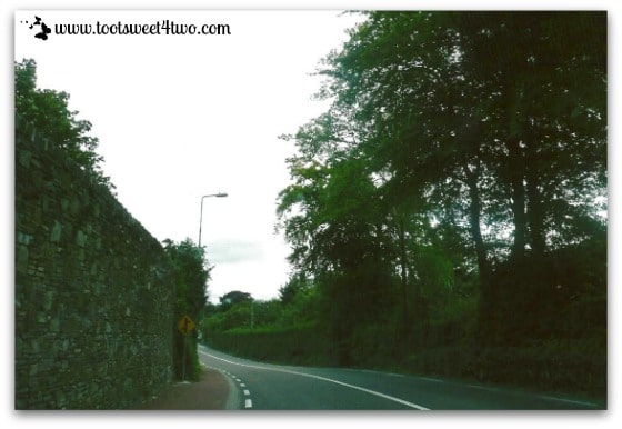 Stone wall lined road in Ireland