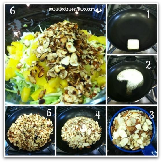 Toasting almonds for Oriental Chicken Salad