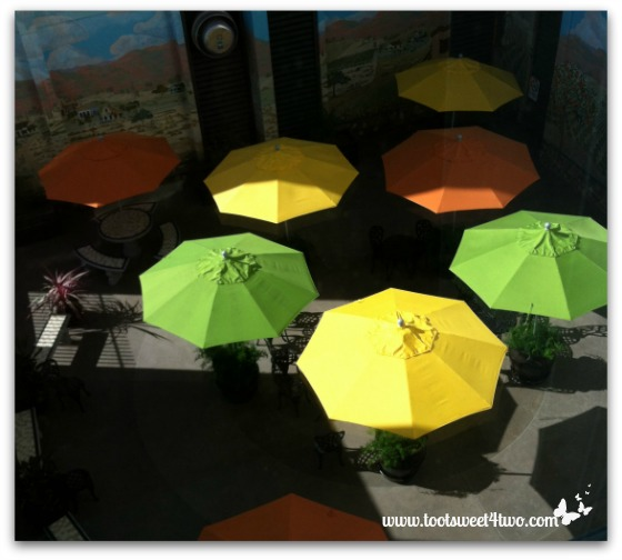 Umbrellas in outdoor patio at local hospital - The Sunshine Gang