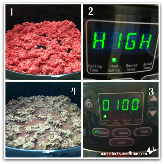 Cook ground beef for Spicy Crock Pot Chili